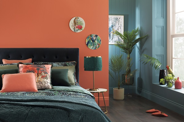 Brompton Blue Velvet Bed