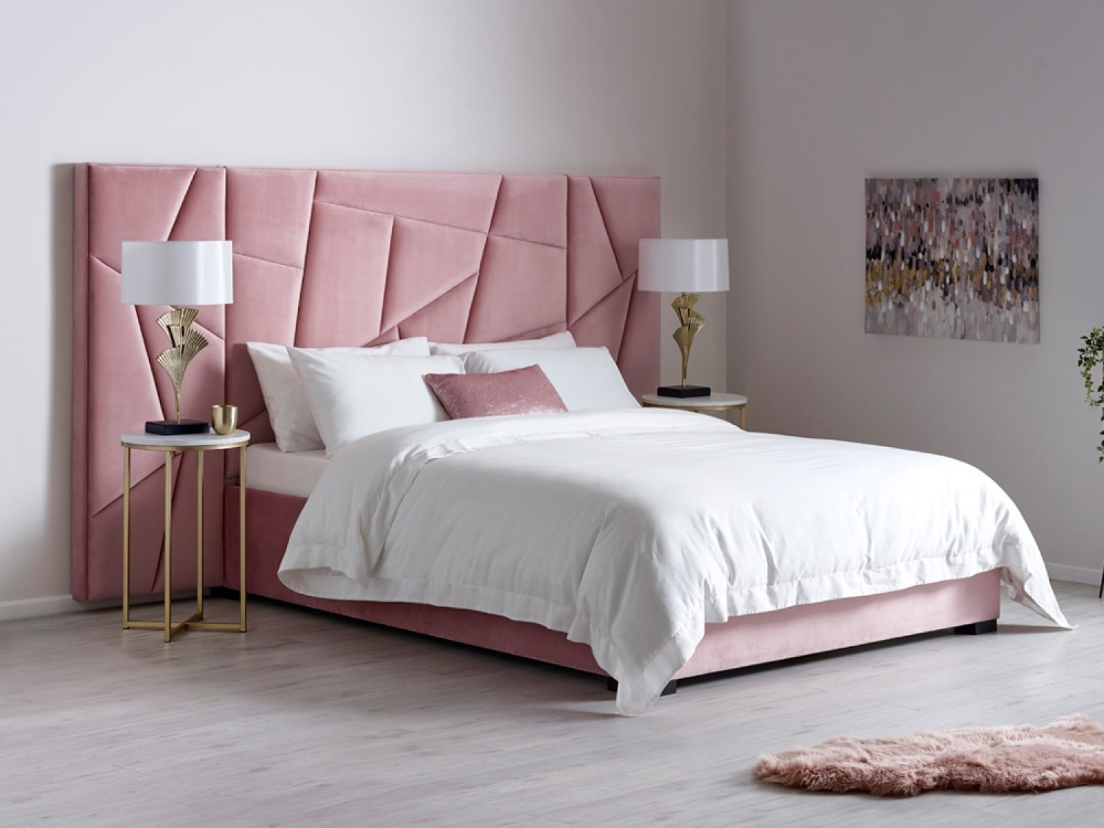Vincent Bed in Blush Pink