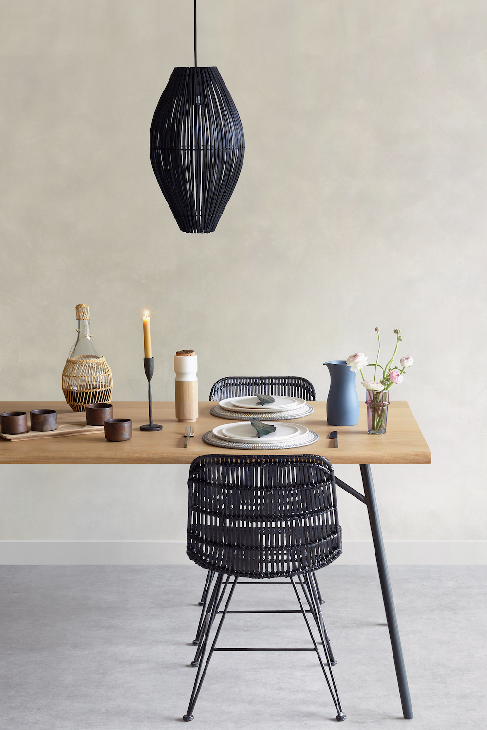 [oggetto] Black fish trap pendant light, £75, candle holder, £20, Chesil dining table, from £2,150, ceramic blue carafe, £48, woven placemats, £5.50.jpg