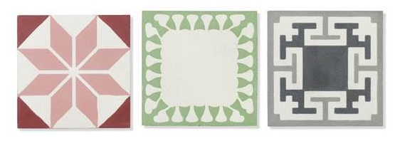 A selection of tiles from the Bert & May Organics range, left to right: 1) Stem, old iron 2) Leaf, cherry 3) Sprouts, green. All from £150 per square metre