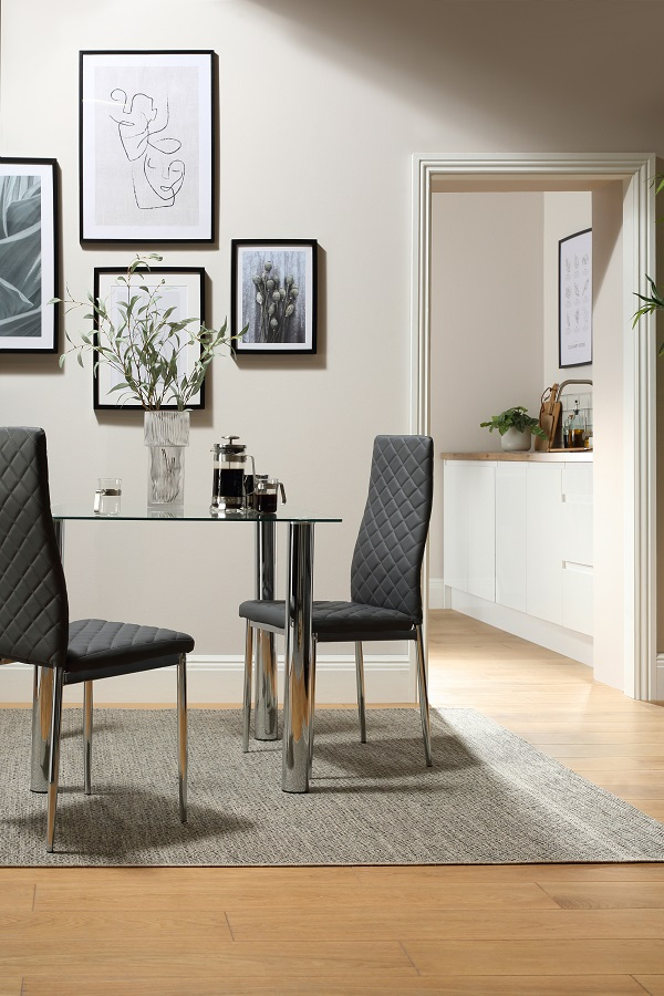 Square Chrome And Glass Dining Table With Grey Renzo Chairs from Furniture Choice
