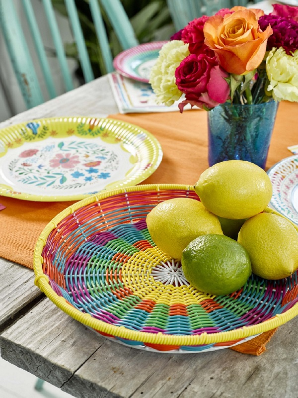Boho Table Detail Woven Basket, Plates, and Napkins