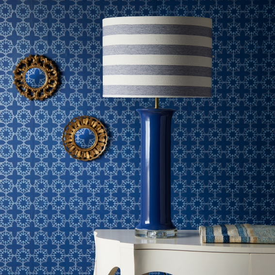 Pooky Tammy table lamp in Cobalt, £100, with Tori Murphy 36cm Drum shade in Navy stripe, £130