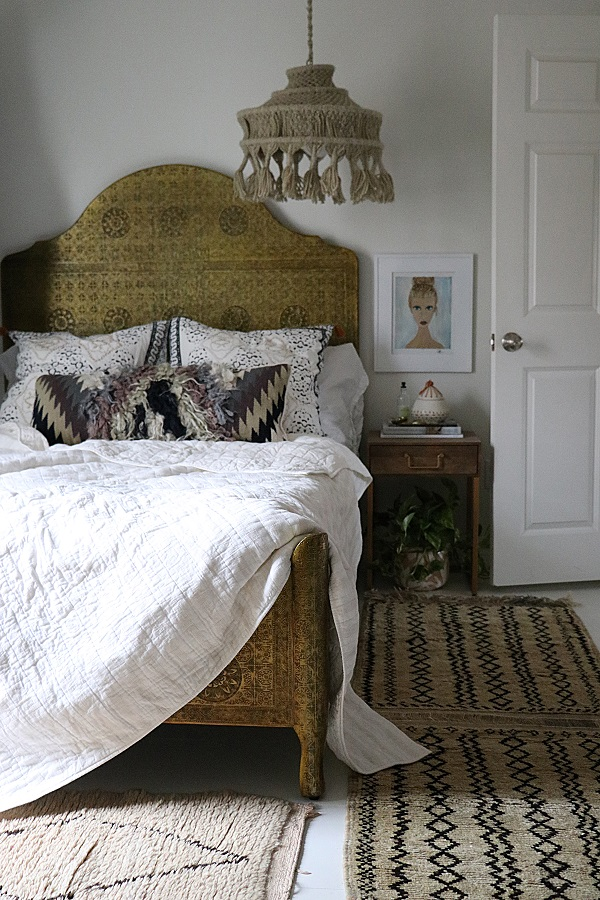 Image: Fleamarket Fab/Chanell Harrison; instagram.com/fleamarketfab  To ramp up the tactile element of a bedroom, layer several rugs, choosing complementing hues or textures for a cohesive look.