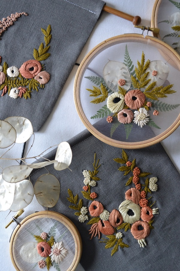 Organza Pressed Flower Embroidery