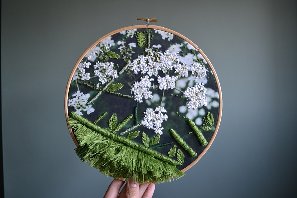 Cow Parlsey Embroidery Wall Hanging