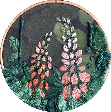 Foxgloves Embroidery Wall Hanging