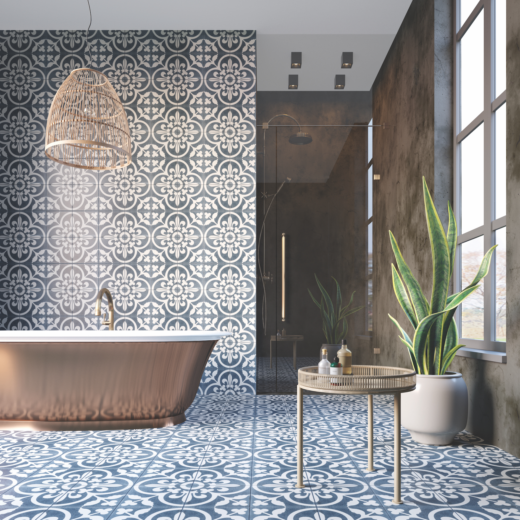 Istanblue handmade encaustic cement tile, 20 x 20 x 1.7cm, £6.72, min order of 5 meter square / 125 tiles