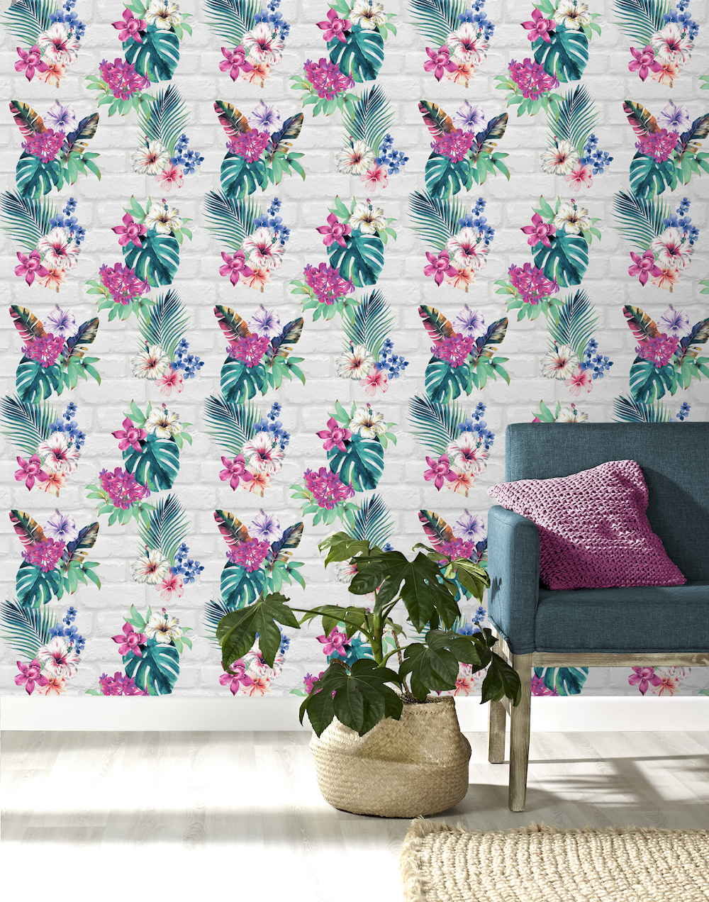 Accessorize Camden Brick Floral Wallpaper - Light Grey Multi