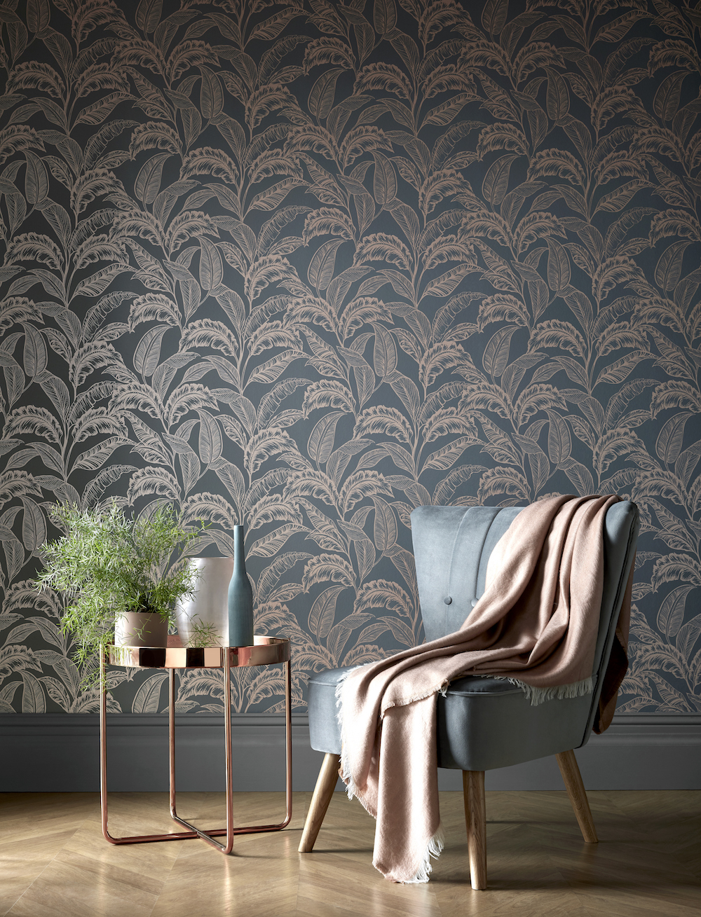 Accessorize Mozambique Wallpaper - Grey Rose Gold