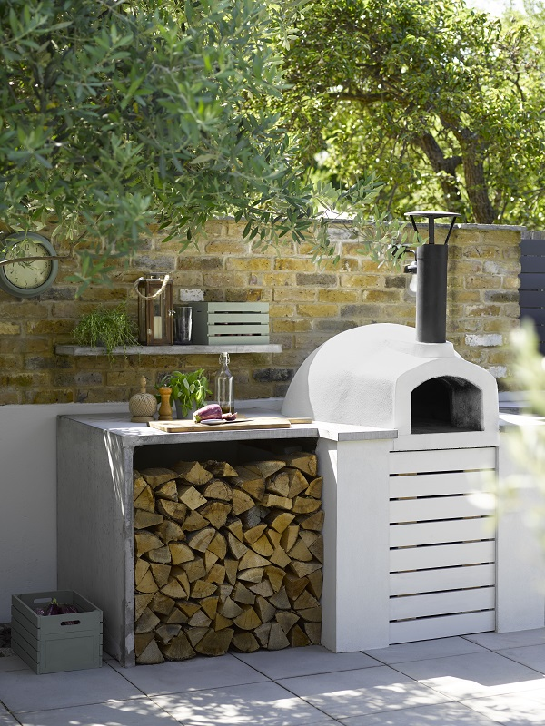 Pizza Oven, Sandtex Smooth Masonry Paint, Pure Brilliant White, from £23 for 5L; Crates: Sandtex Rapid Dry Satin, Bay Tree, from £17.99 for 750ml