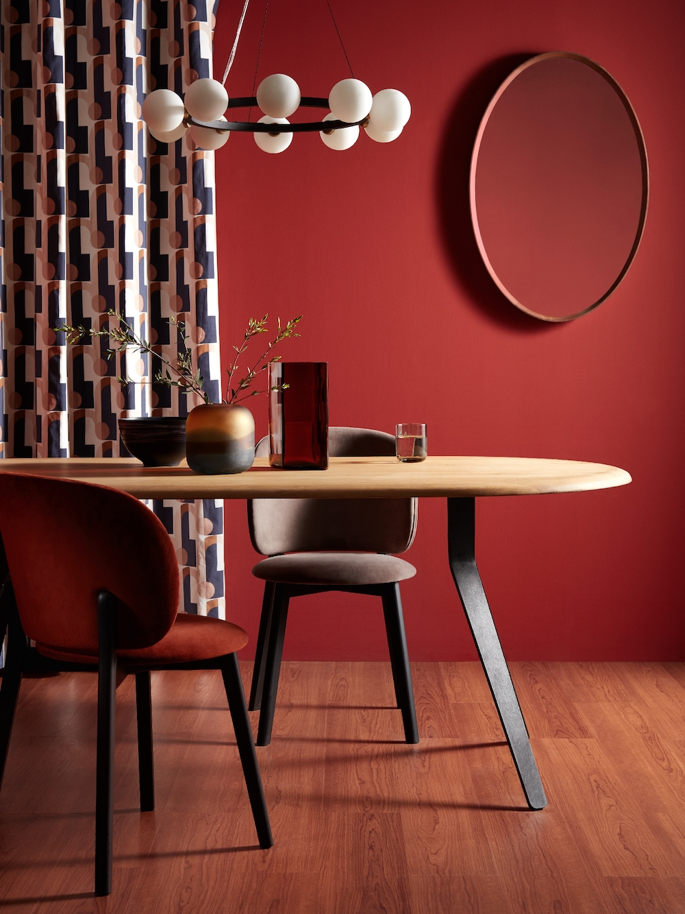 Design Project By John Lewis No.203 Upholstered Side Chair, £299; Design Project By John Lewis No.203 Upholstered Side Chair, £299; Design Project by John Lewis No.169 8 Seater Dining Table, Oak, £999; Arcade Night Sky Readymade Curtain, £80 / £120; Matinee 10 light ceiling hoop, £295; Astrid Walnut Oval, £299; 3 Tone Glass Multi Small, £40; Iittala Ruutu Vase, H26.5cm, Copper, £190