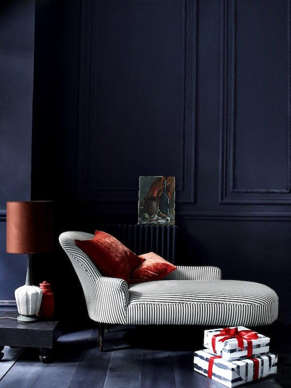 Chalk Paint in Oxford Navy and Athenian Black, chaise in Graphite Ticking, wrapping paper in Oxford Navy