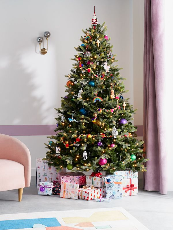 Pre Lit Belgravia 7ft Tree £349, ABC Tree Decorations From £4, Christmas Wrap From £4