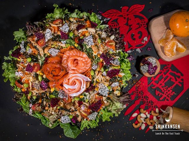 Now offering Yusheng! Comes with 18 pieces of #salmon including salmon #sashimi, salmon belly sashimi, and genmaicha & maple cured salmon. A new take on #yusheng - dehydrated red and white dragonfruit, edamame, seaweed, corn, quinoa, cherry tomatoes, truffle mixed mushrooms, and more! Only 48 SGD. Order from eat@shinkansen.co! #shinkanseneats