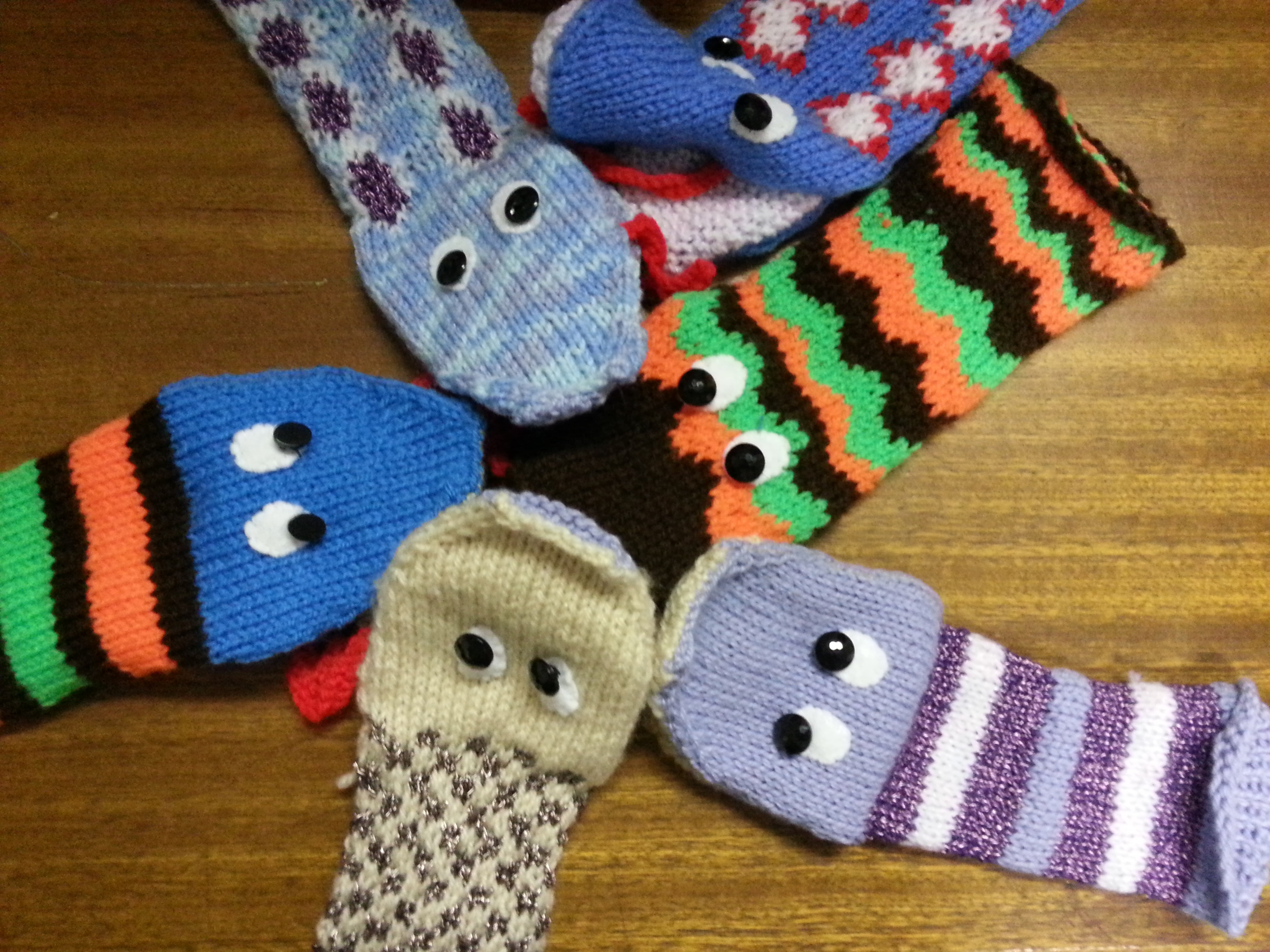 Sock puppets knitted for children in Nigeria