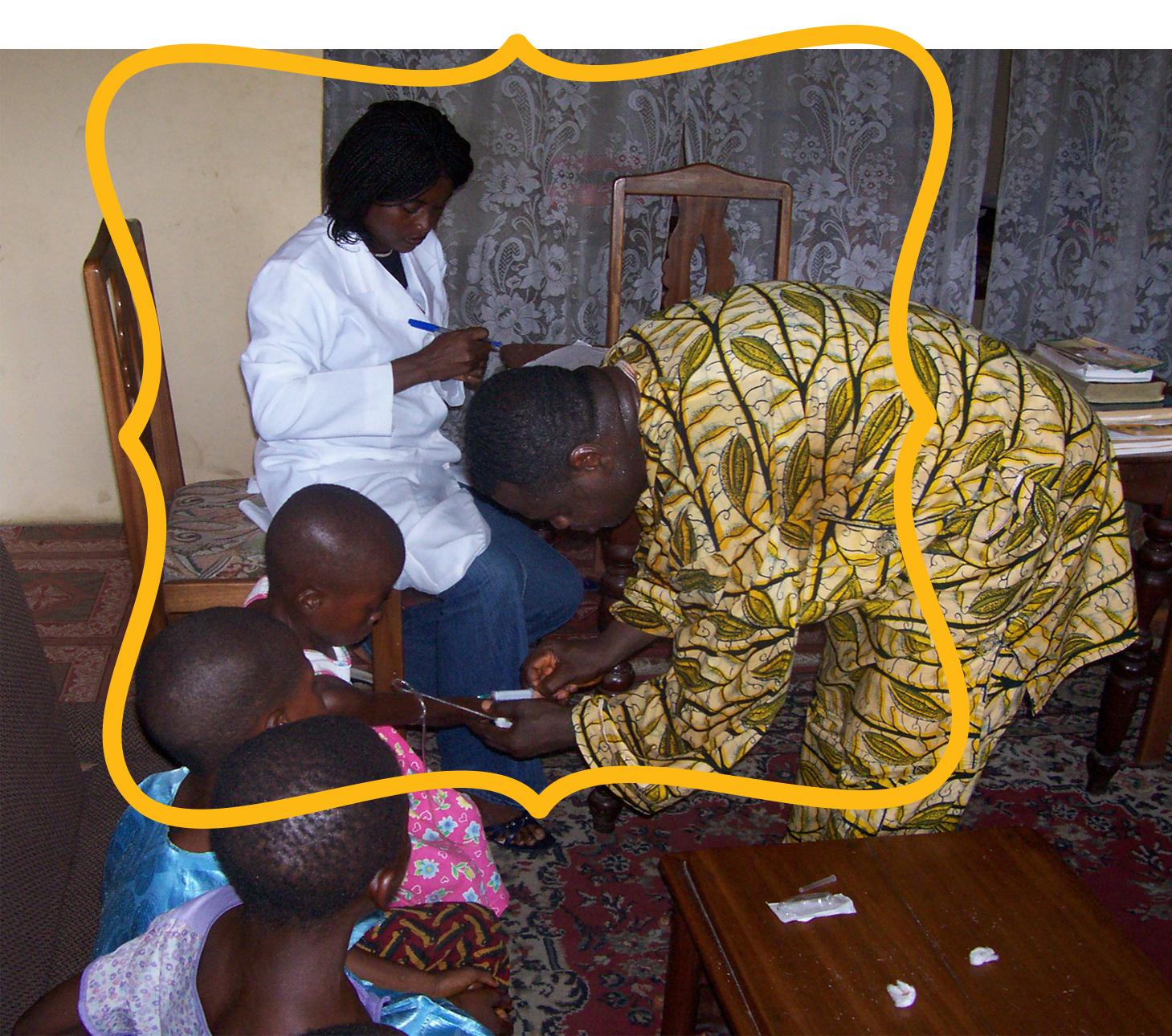 Street children receiving medical care