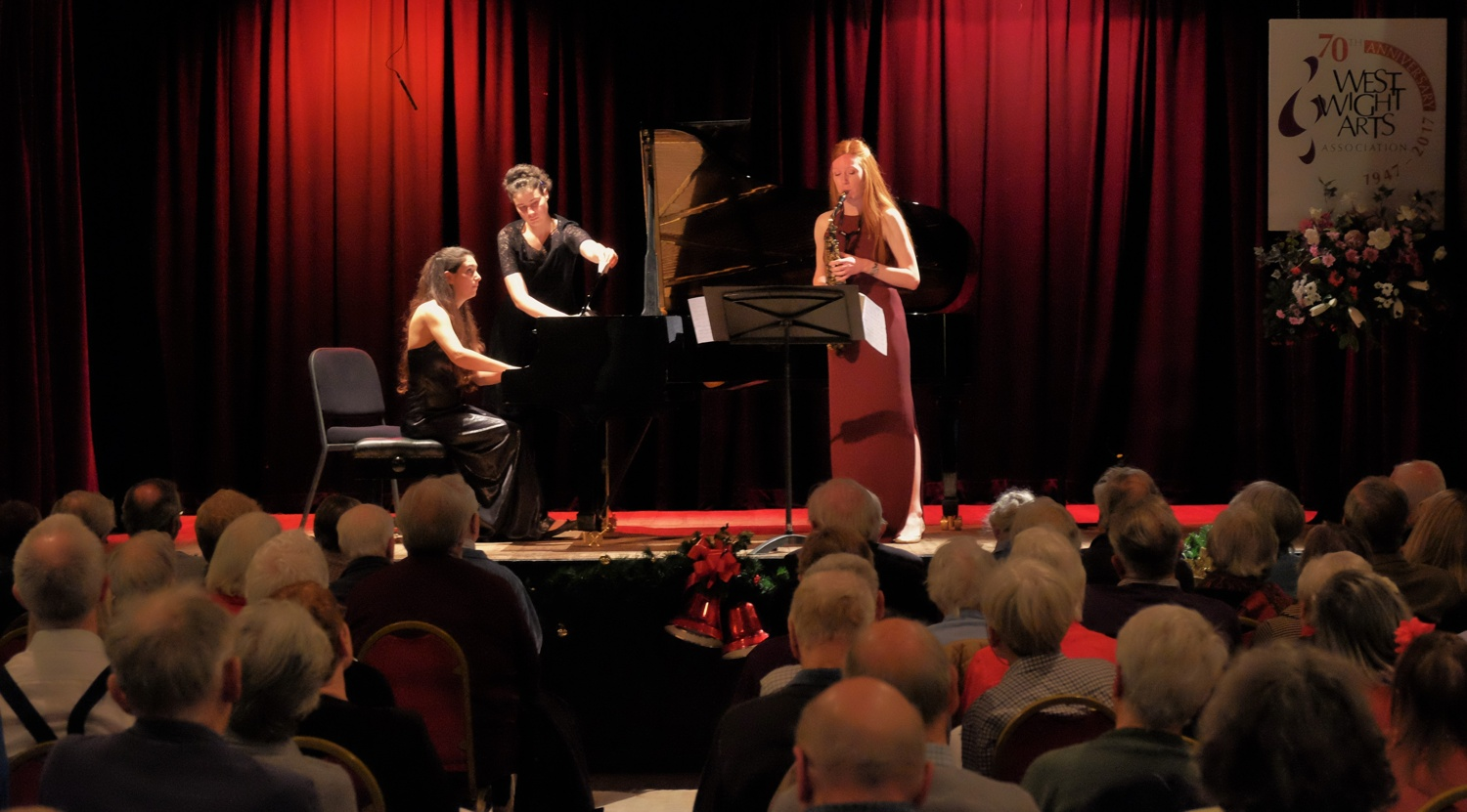 Amy Green and Christina Zerafa perform at the West Wight Arts Association