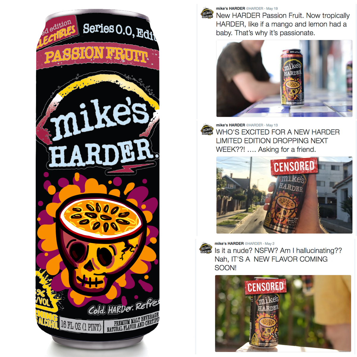 Mock up of the can on the right, the twitter feed from Mike's showing the teaser and launch of the new flavor.