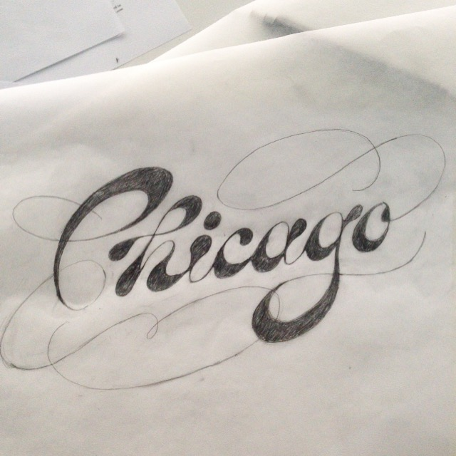 A work in progress sketch showing a Spencerian/Italian hand inspired script—the stress is not in the traditional spots of each letter. It has a blobby look.
