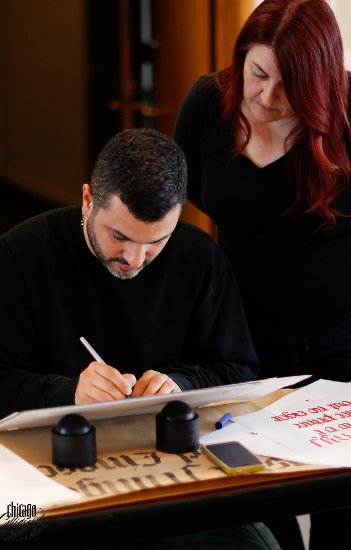 Luca schooling me.Photo © Chicago Calligraphy Collective.