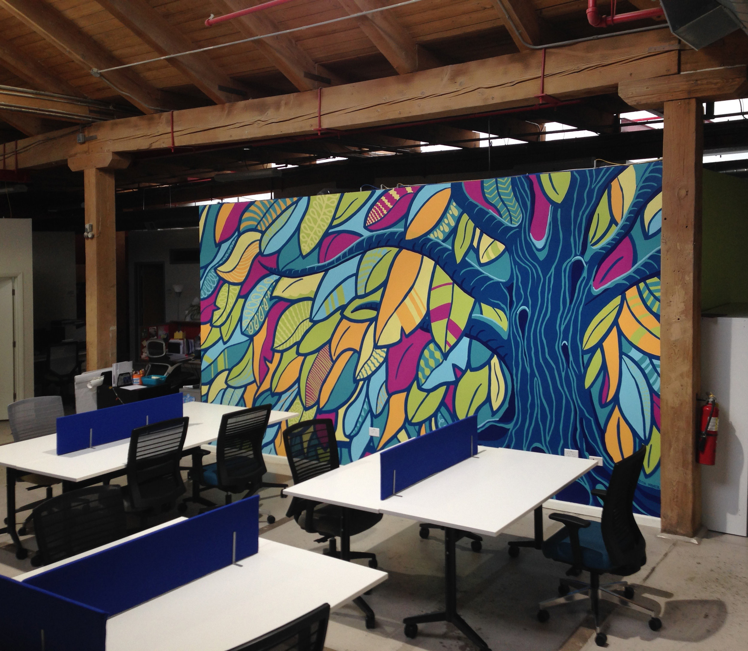 Tree of Life,  mural at co-working space for the Jewish community in Chicago. 9ft tall x 18 ft wide.
