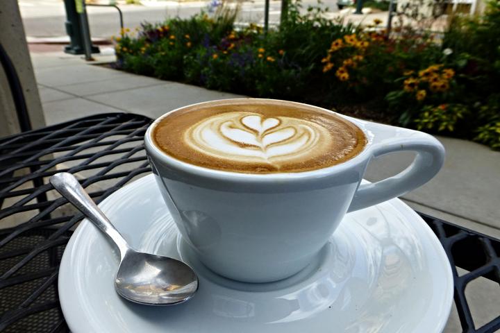 Enjoying a cappuccino outside in Denver