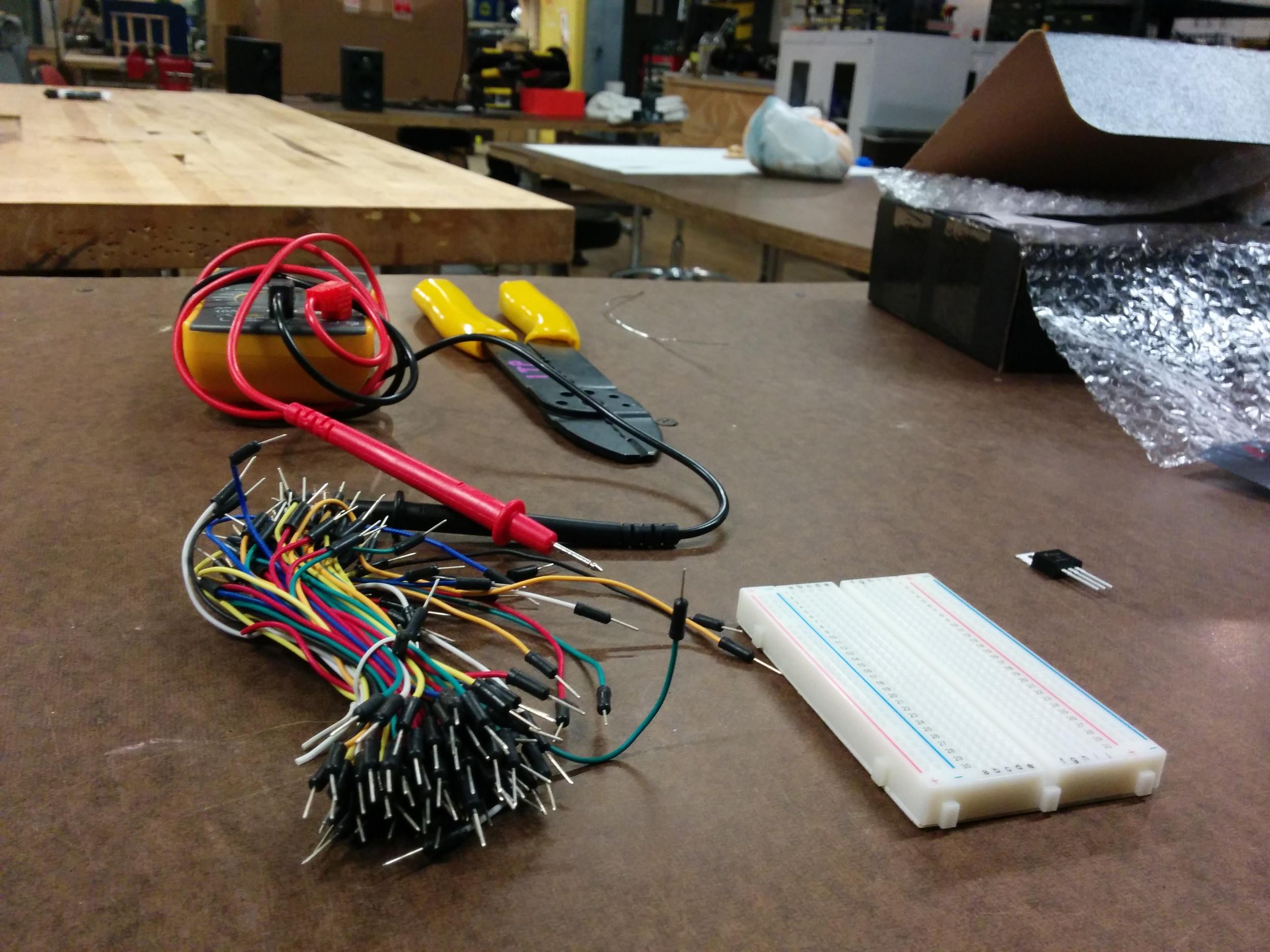 Materials for it - wires, breadboard, wire stripper, multimeter, voltage regulator