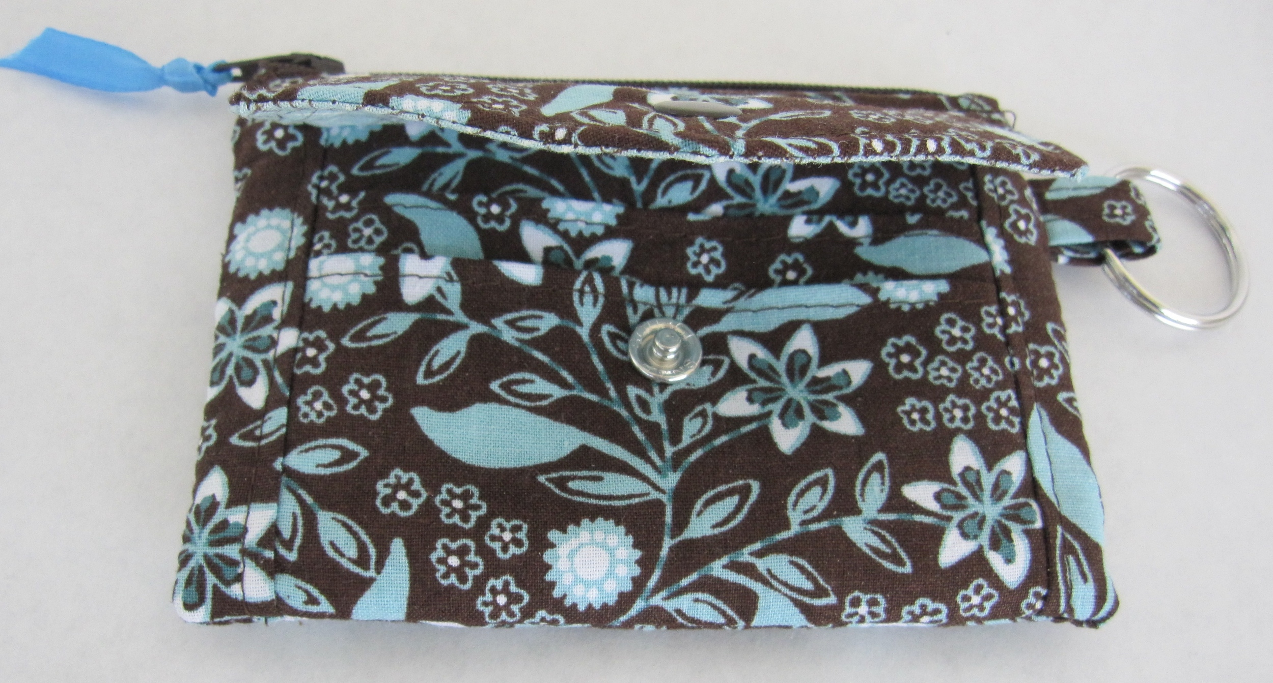 Two pockets for credit cards or other cash cards are securely hidden under the cute envelope flap.