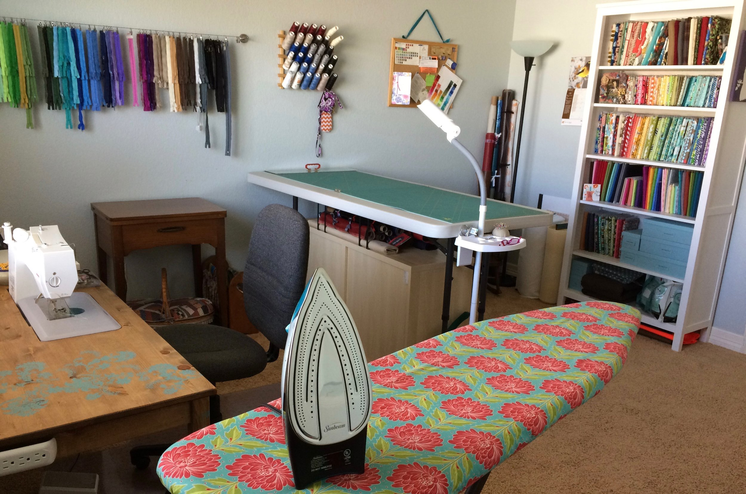 """This is what my sewing room looks like after almost a week of cleaning and organizing! I wish I had taken a """"before"""" picture."""
