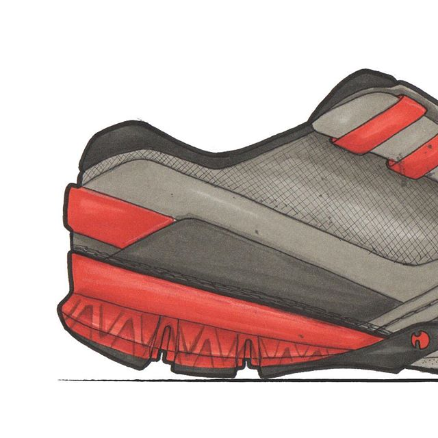 Sketch I did for a project for Cat. Included the outsole sketch. This is one of many sketches that wasn't chosen for the direction of the final product. That's the way it goes, I could make a mountain out of the sketches I've done over the years that weren't used.  #athletic #outsole #red #grey #mountain #sketch #sketching #sketchbook #marker #copicmarkers #markerrendering  #footwear #footweardesign #footweardesigner #design #industrialdesign #productdesign #lastcomesfirst #creativity #streetstyle #illustration #inspiration #inspirado #kickstagram #sneakerhead #lacelessdesign