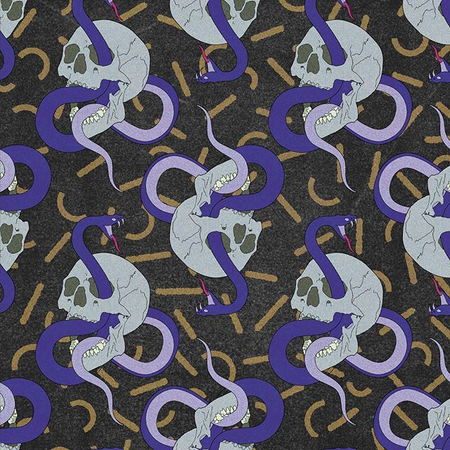 Tongue action. 👅 💥#patterndesign #truegrittexturesupply #skulls #snakes #party #pattern #art