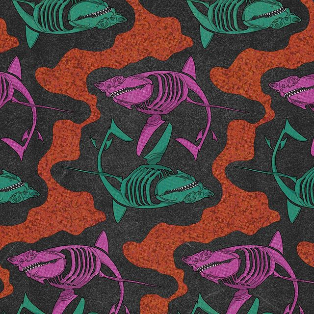 Feeding Fenzy. 🦈🍕🍔🍗 #shark #sharkweek #chum #chumbucket #pearlywhites #sharkattack  #truegrittexturesupply #illustrator #illustration #patterndesign #adobeillustrator #adobe #procreate #digitalartwork #jabberjaw #streetsharks #sharktale #sharkticons #jaws
