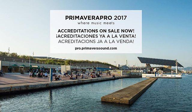 ¡Acreditaciones para #PrimaveraPro 2017 ya a la venta! Accreditations for #PrimaveraPro 2017 on sale now!  https://pro.primaverasound.com/ticket/view  #wheremusicmeets #primaverasound #music #congress #conferences #showcases #workshop #mentoringsession #musicindustry