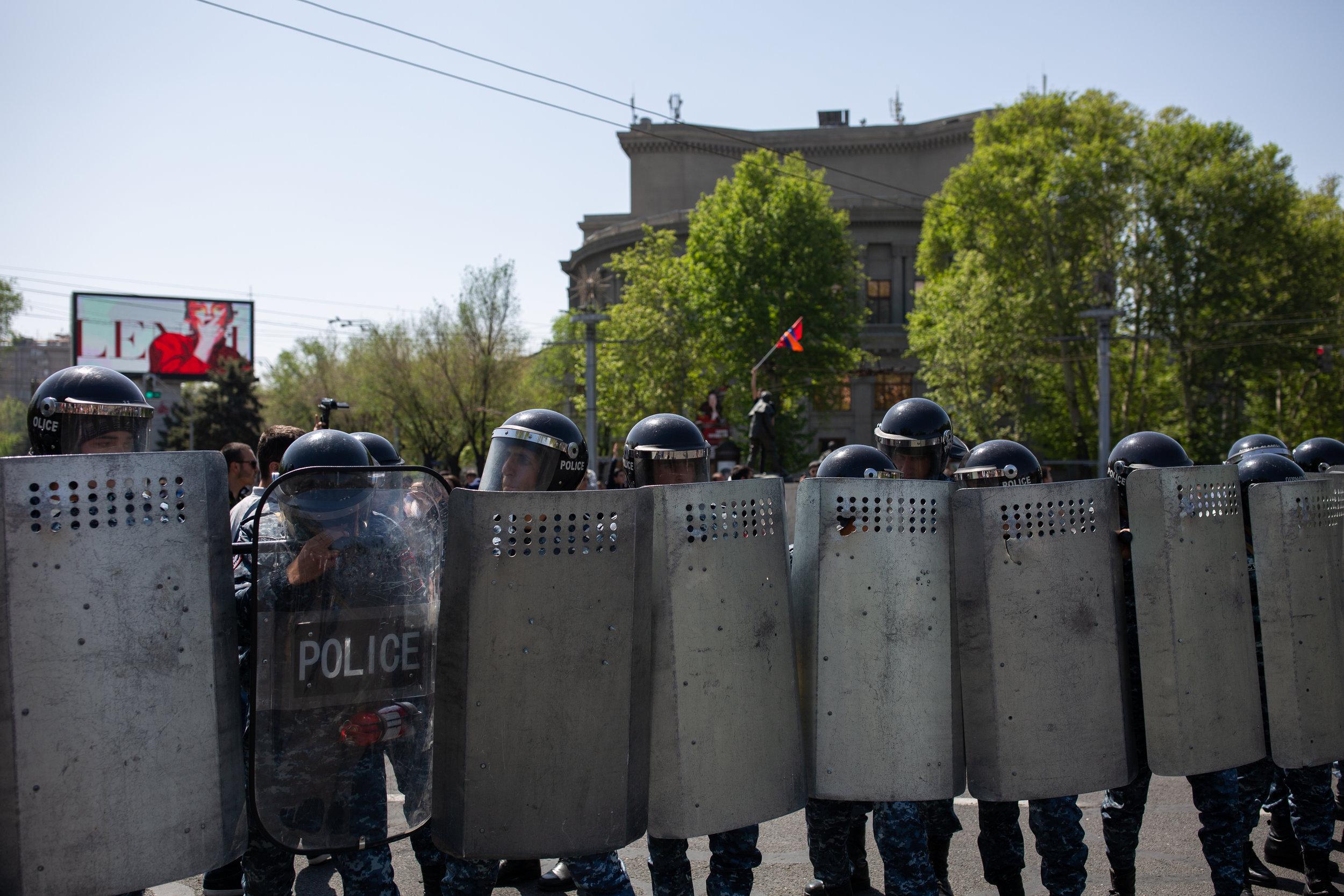Armenian Police blocking France Square