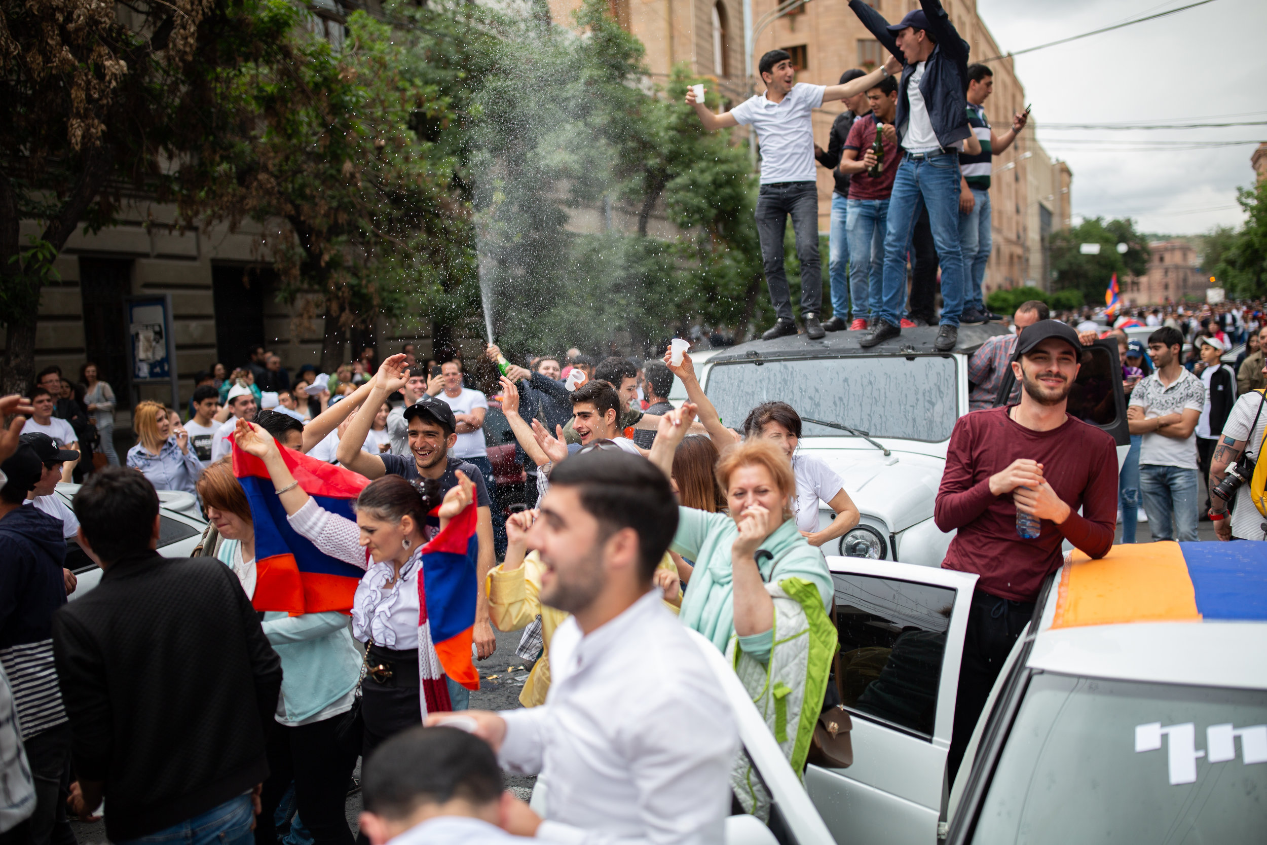 Popping Bottles of Champagne on Amiryan Street