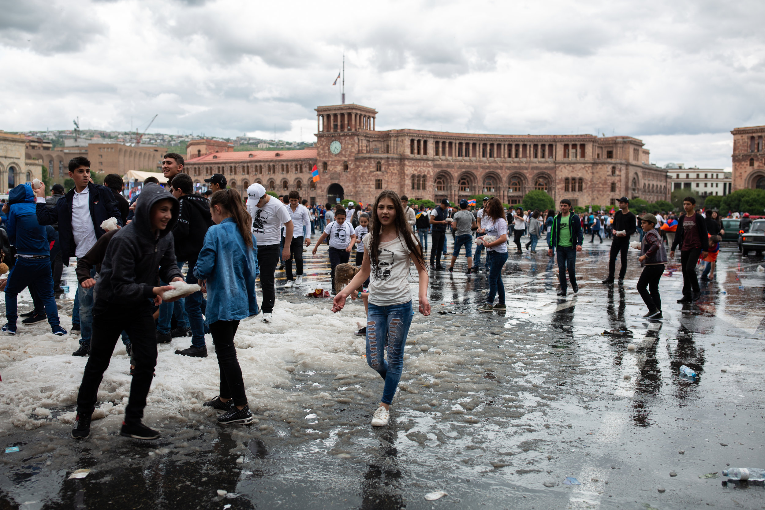 Snowball fights in Republic Square