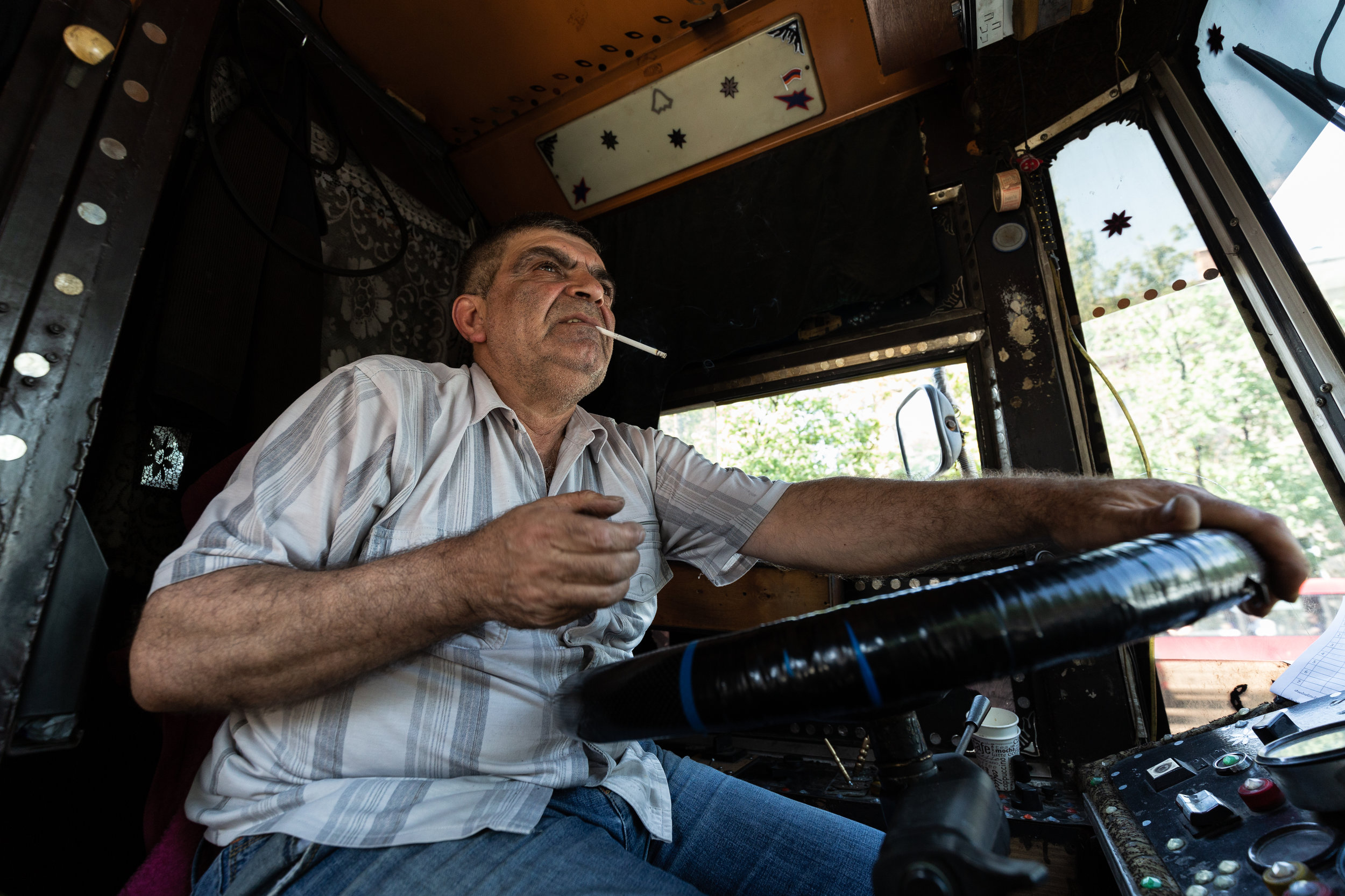 Arthur like all the other trolleybus drivers claim that the taxis and overcrowded Marshrutkas create the majority of the problems on the roads (especially in Prospect) because they don't respect the bus lanes/stops. He says that the young drivers can't understand the old ones well because they were not part of the old system when the buses first started in Yerevan. In the past new drivers had to take part in training that lasted for a total of 6 months, however today training is only 40 days broken down into three classes with 2 tests at the end.
