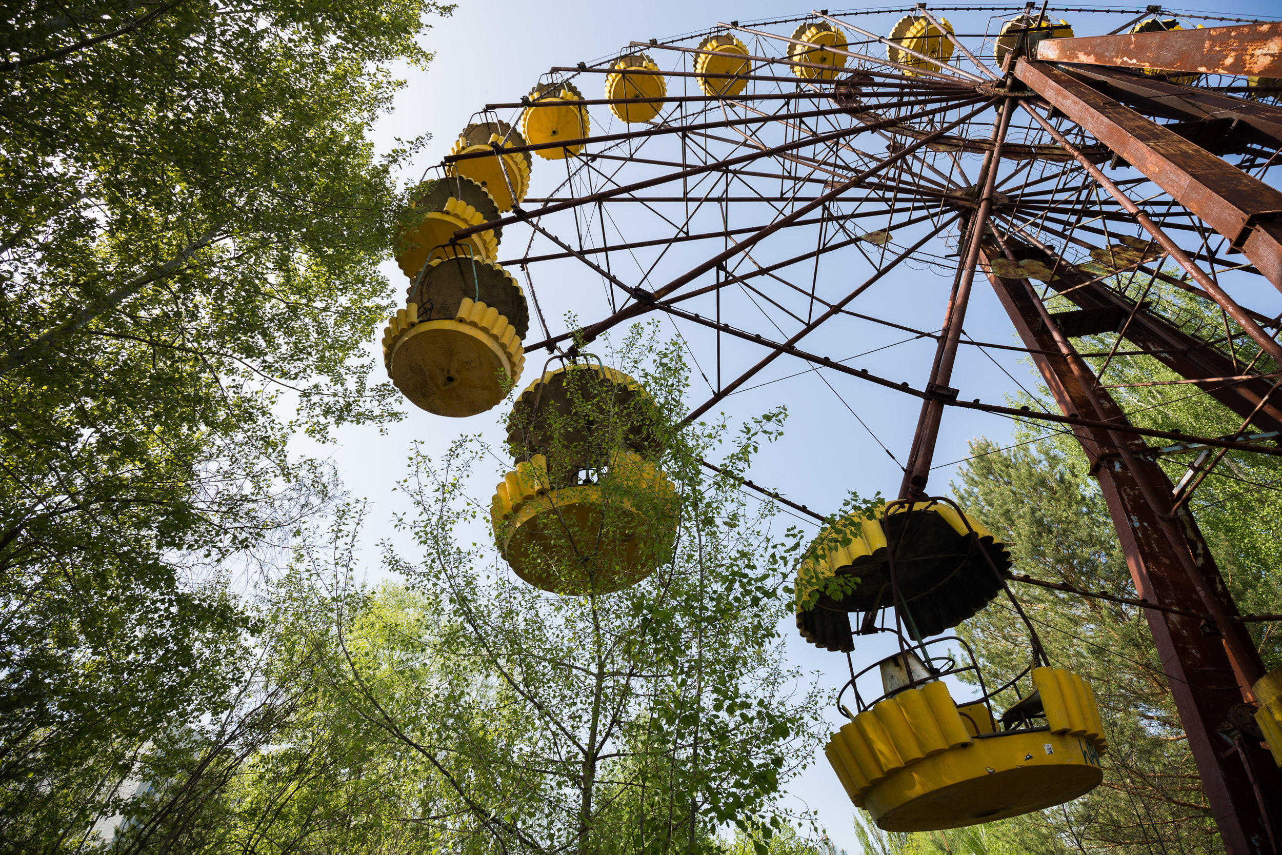 The iconic ferris wheel of Pripyat amusement park which was scheduled to open on 1 May 1986 for the May Day celebrations.