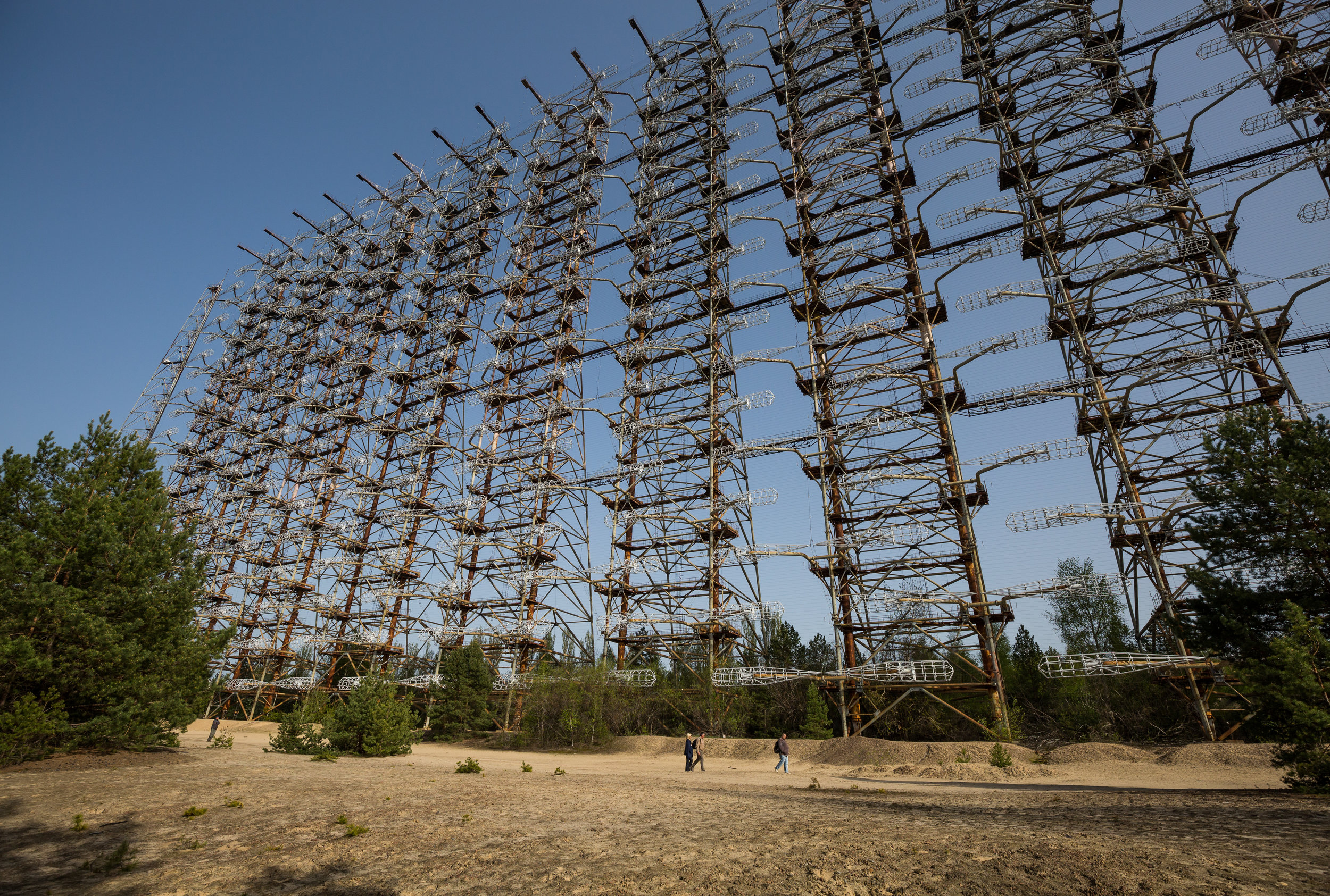 The Duga 1 radar hidden within the forests outside Chernobyl. It was one of two radars deployed and part of the Soviet missile defense early-warning radar network. Nicknamed the Russian Woodpecker for the repetitive tapping noise that it made at 10 Hz.