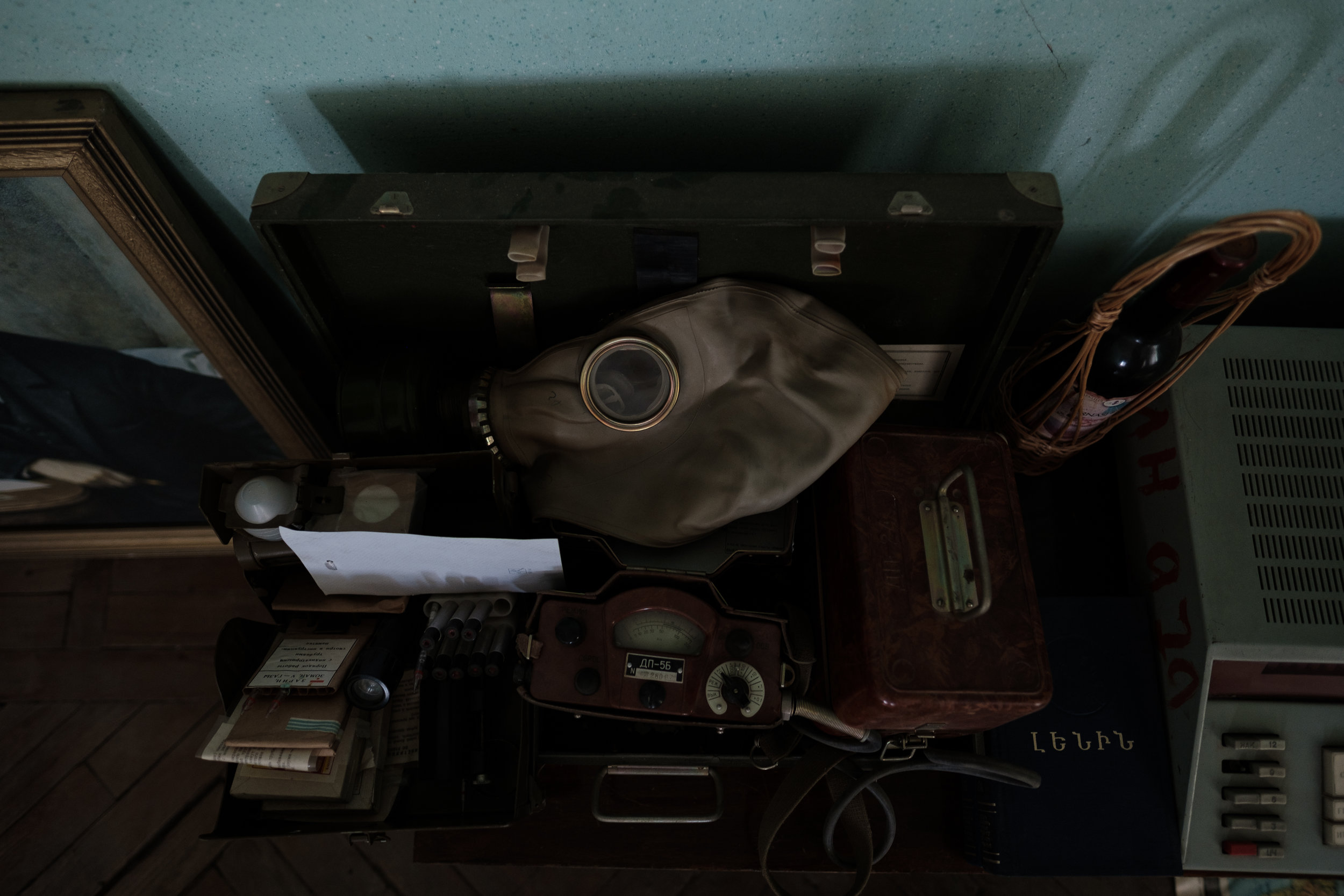 Soviet gas mask and other supplies.