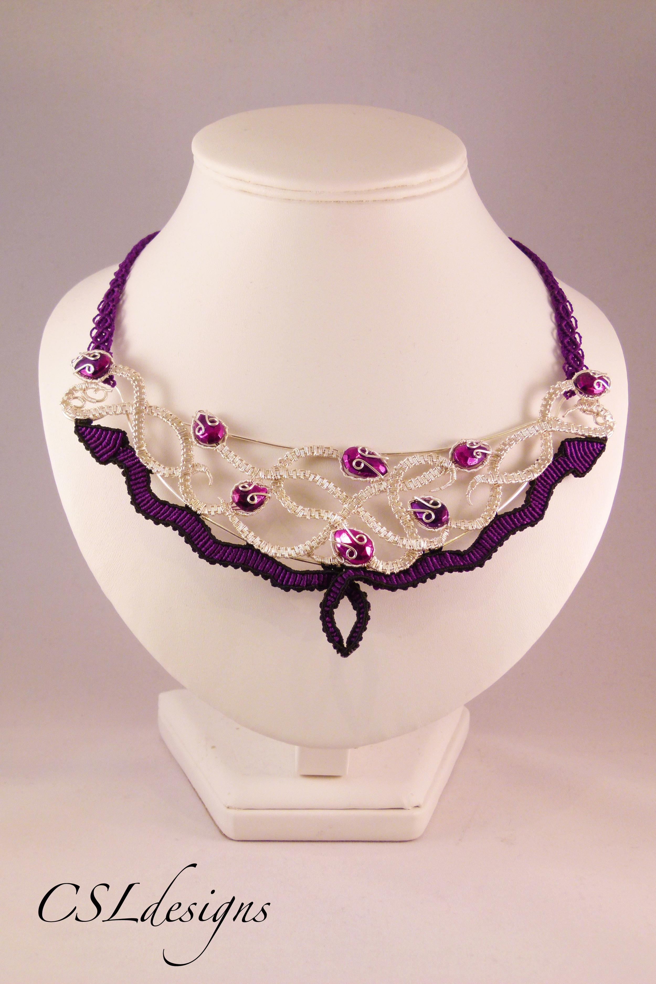 Micro macrame wirework snake necklace front full.jpg