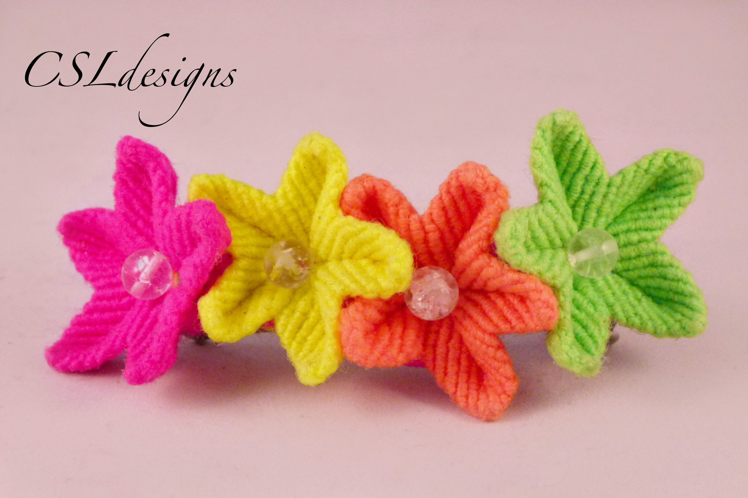 Easy macrame flower hair piece neon.jpg