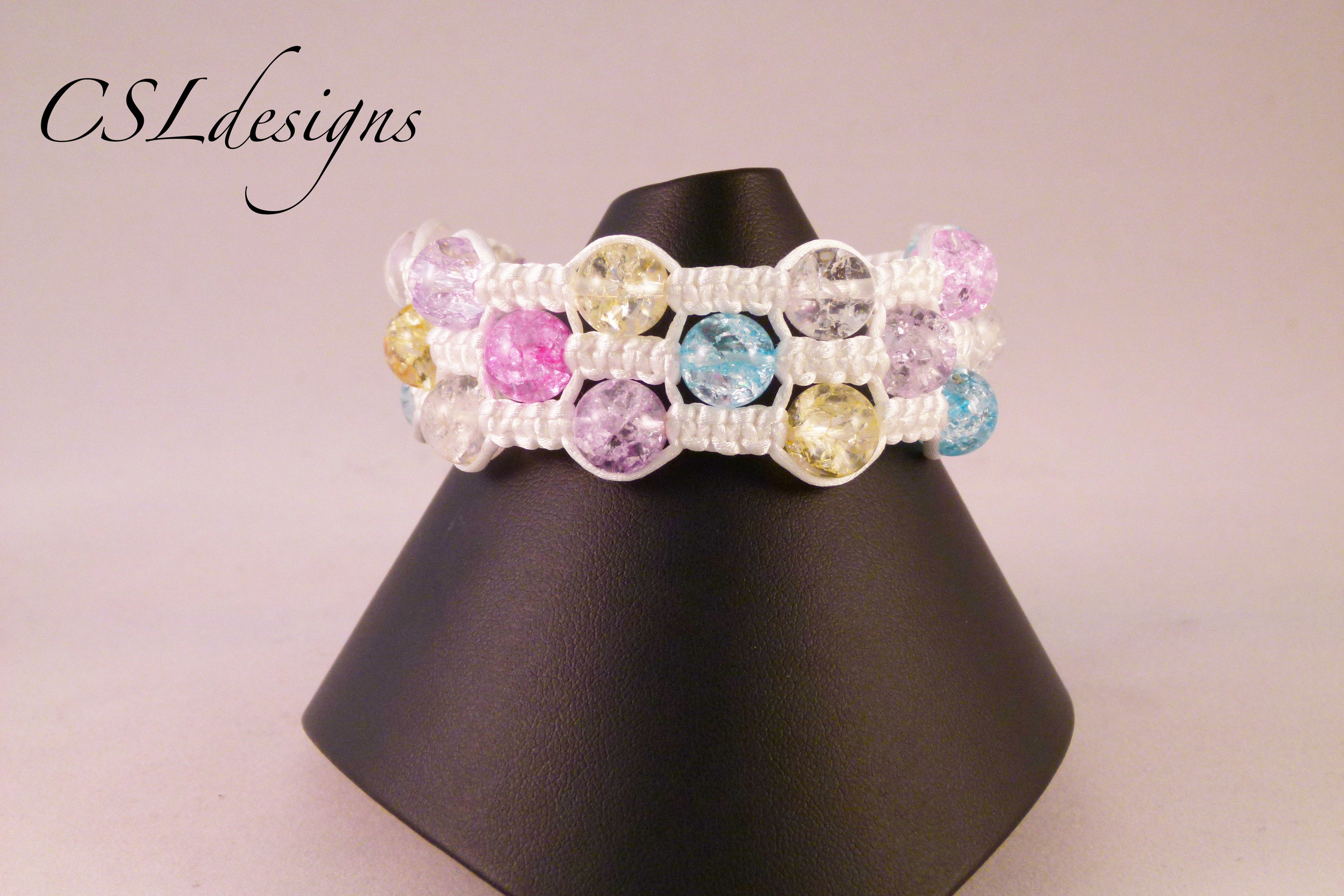 Multi knot triple row macrame bracelet white front full.jpg