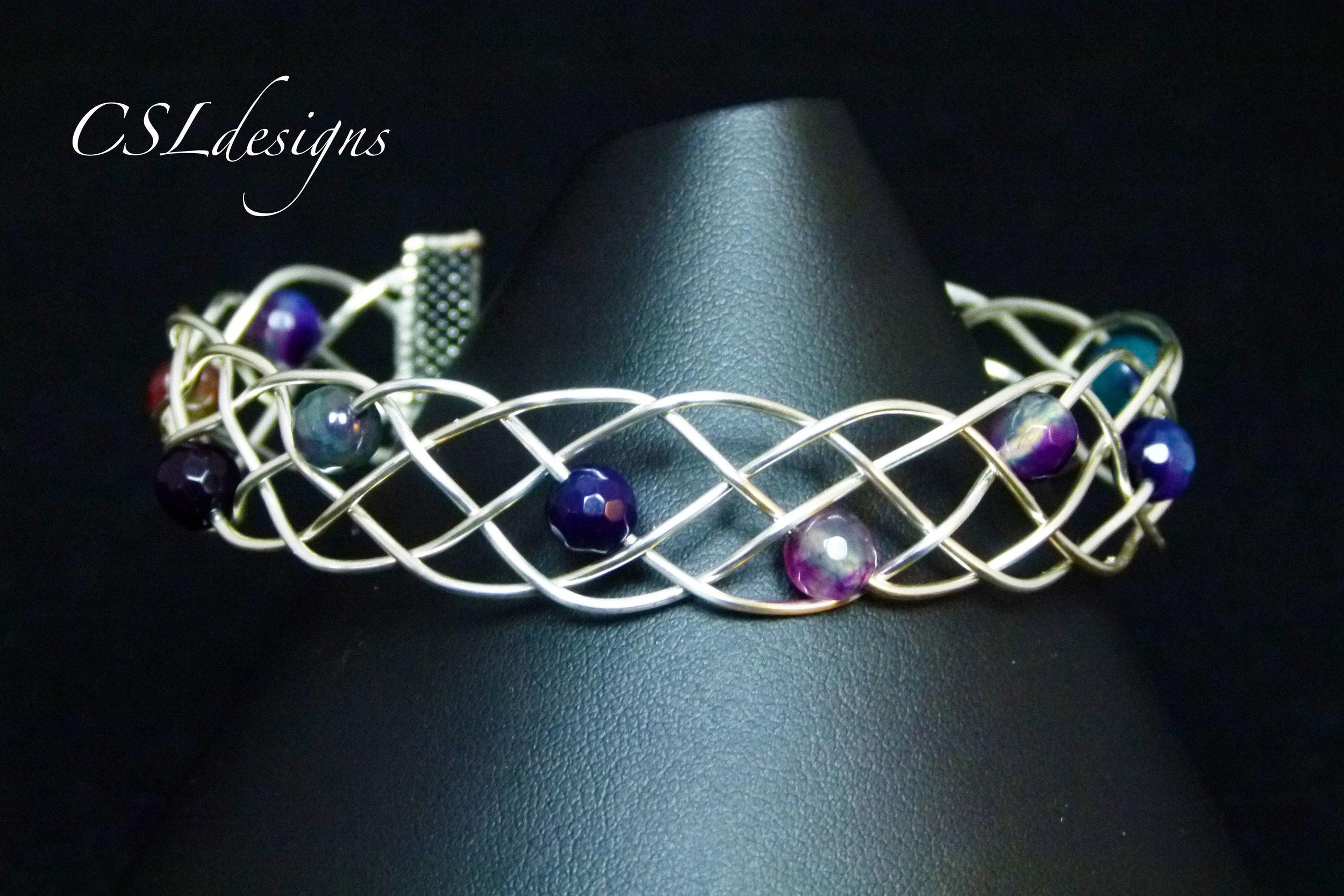 Beaded organic braided wirework bracelet thumbnail.jpg