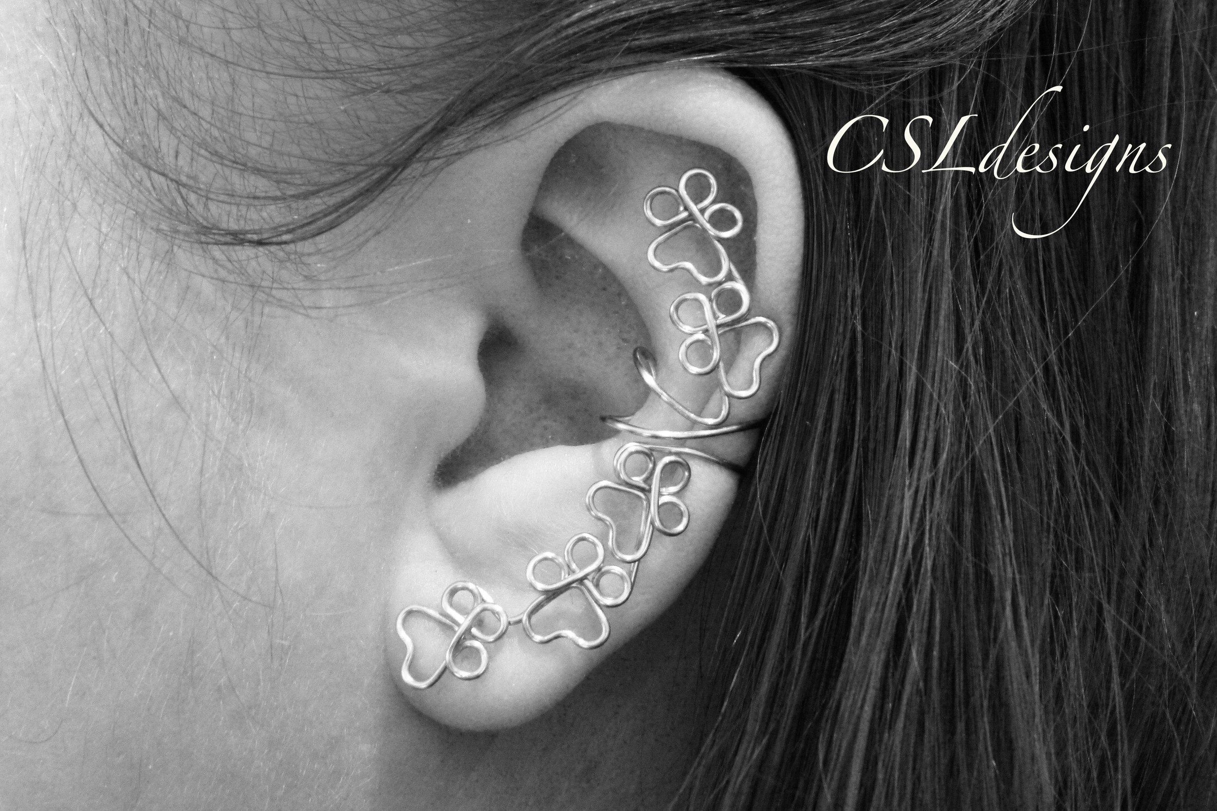 Paw prints wirework ear cuff thumbnail black and white 2.jpg