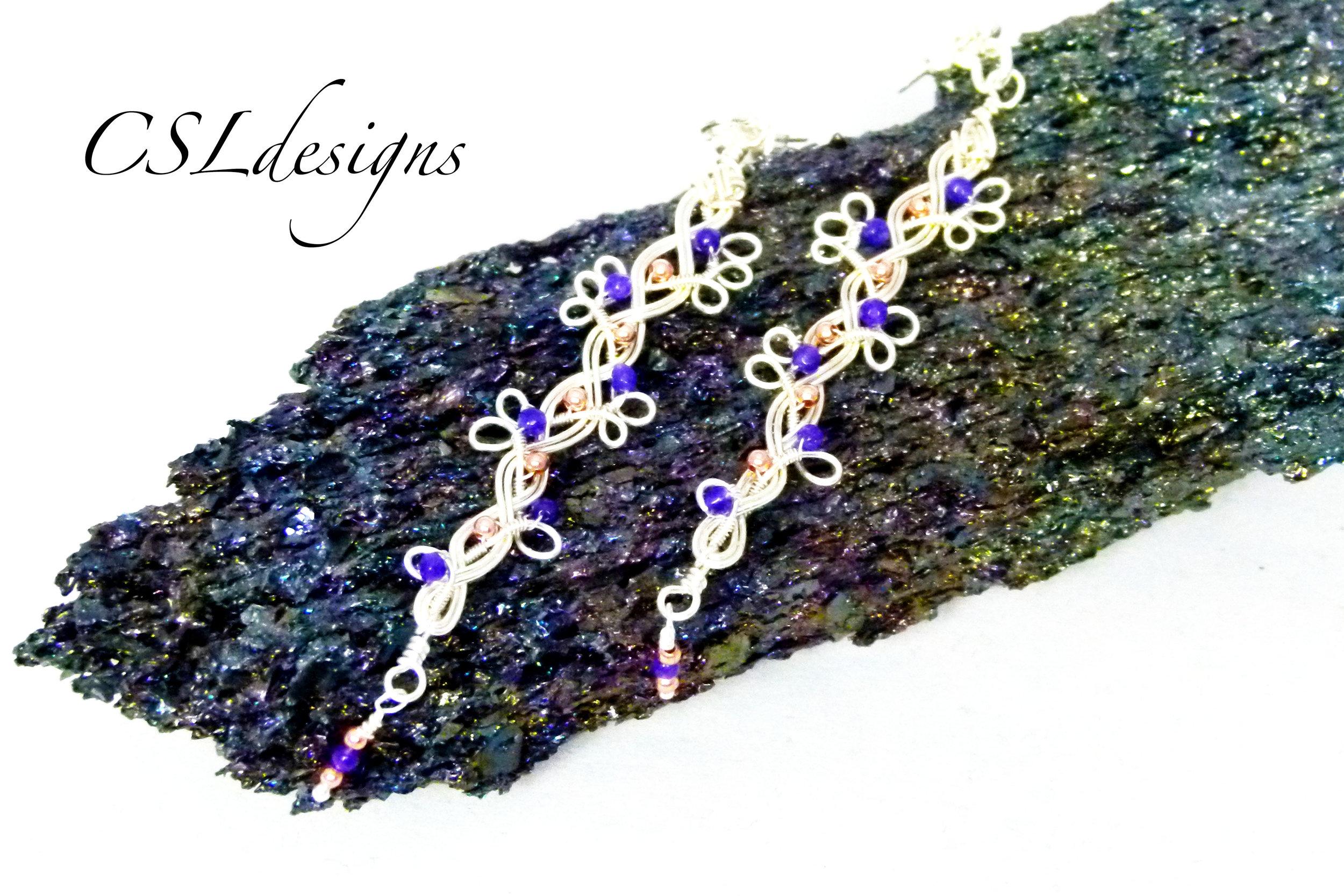 Beaded organic braided wirework earrings thumbnail 1.jpg