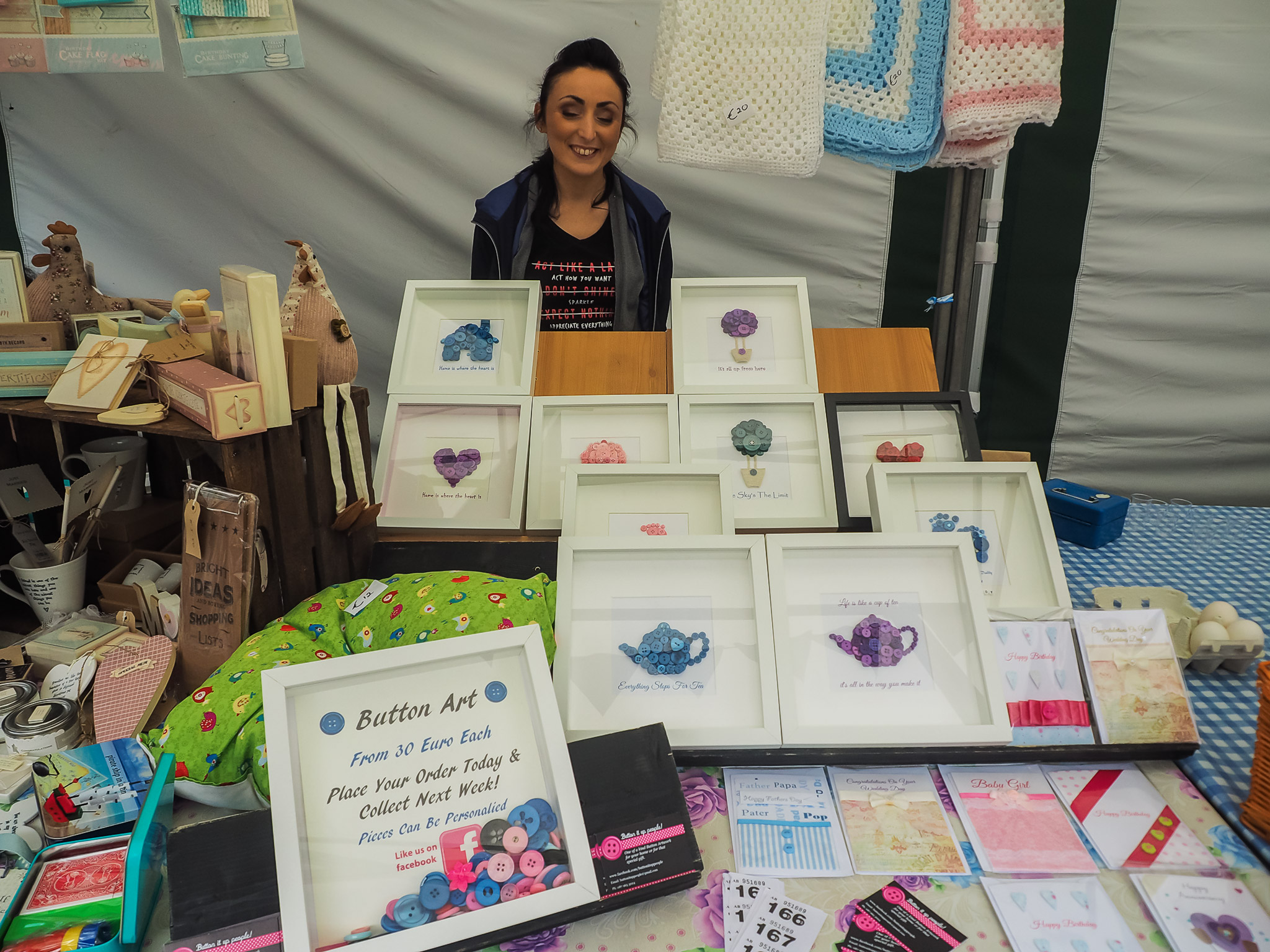 Amanda from Button It Up People, Boyle Courtyard Market, County Roscommon.