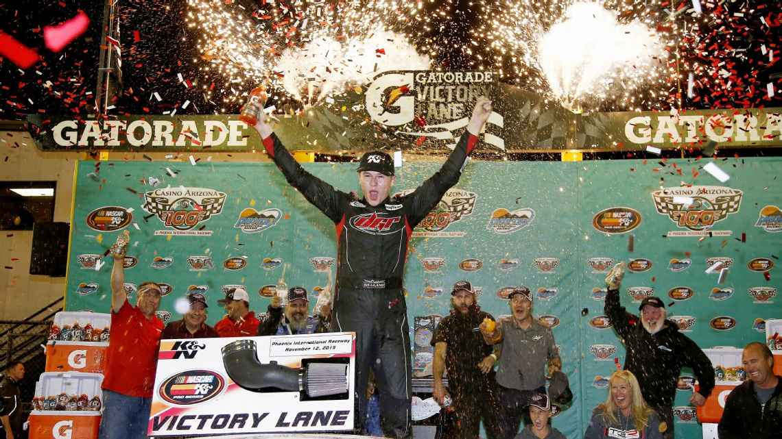 Todd Gilliland, the 15-year-old son of NASCAR Sprint Cup driver David Gilliland, became Phoenix International Raceway's youngest winner with a victory Thursday in the K&N Pro Series.