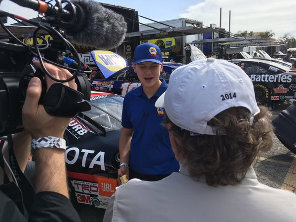 Todd Gilliland at a TV Production interview before KNWest Practice at Orange Show Speedway.jpg